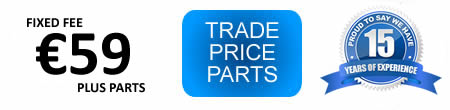 appliance repairs cost €59 fixed fee plus parts at trade price